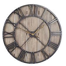 Wall Clocks Amazon Com Household Essentials Large Oversized Decorative Rustic