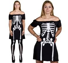 ladies skeleton costume black skater dress halloween fancy dress