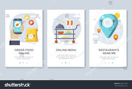order food on line banners mobile stock vector 582921190