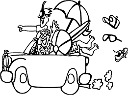 summer holiday going to car coloring page wecoloringpage