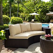 Patio Furniture Sectional Sets - catalina outdoor wicker round sectional sofa with sand cushions