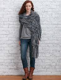 bernat arm knit fringed wrap arm knit pattern yarnspirations
