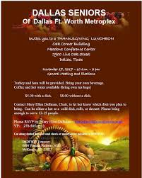 rsvp request dfw senior citizens thanksgiving luncheon meeting