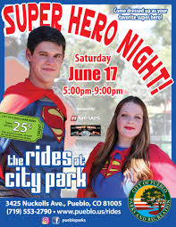 super hero night at the rides at city park 06 17 2017 pueblo