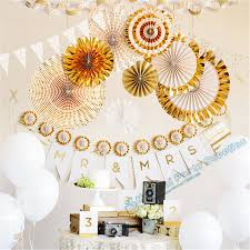 2 sets 16pcs gold glitter paper fan backdrop gold birthday gold