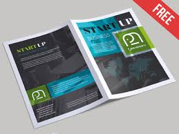 free startup business bi fold psd brochure template by mockupfree