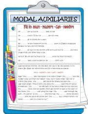english teaching worksheets modal auxiliaries