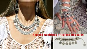 boho necklace set images Bohemian silver coin hollow out clovers statement necklace jpg