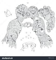 vector hand drawn love kissing couple and the guy two human