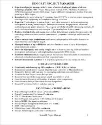 Sample Project Manager Resume by Sample It Project Manager Resume 9 Examples In Word Pdf