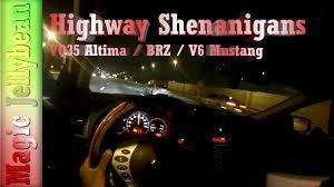 nissan altima coupe race suburu brz vs altima coupe 3 5se vs v6 mustang race new exhaust