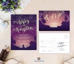 Purple Wedding Invitations Starry Night Wedding Invitations Only By Invite