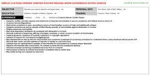 Packer Job Description For Resume by Customs Opener Verifier Packer Resume Sample