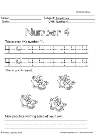 Four Worksheet Primaryleap Co Uk The Number Four Worksheet