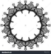 abstract ornament circle black frame stock vector 685905892