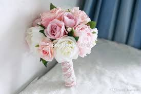 Fake Wedding Flowers Light Pink Artificial Vintage Wedding Bouquets Brooch Bouquets