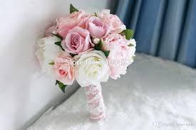 Wedding Bouquets Cheap Light Pink Artificial Vintage Wedding Bouquets Brooch Bouquets