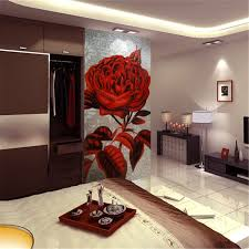 artistic decorative golden glass mosaic mural rose flower painting designs bedroom wall tile