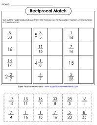 reciprocal fraction worksheets