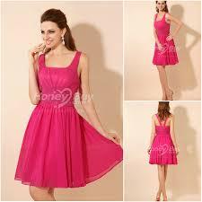 a line knee length fuschia bridesmaid dresses