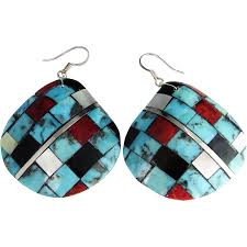 turquoise drop earrings turquoise statement earrings vintage sterling silver drop earrings