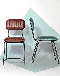 mobilier diner americain chaise industrielle en cuir marron chaise cuir chaises et