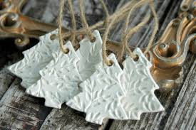 tree ornaments set of 5 handmade clay ornaments