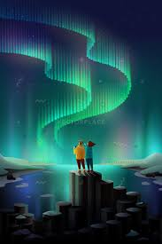iceland northern lights season young couple watching northern lights iceland vector illustration