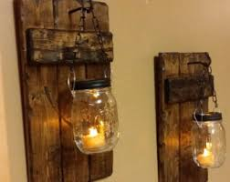 Rustic Home Decor For Sale Mason Jar Wood Candle Holder Rustic Decor Sconce