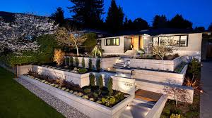 terraced front yard landscaping planter bo on a slope afbffe