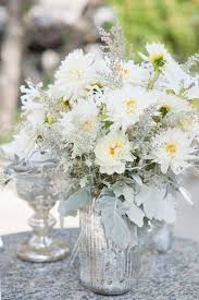 silver centerpieces silver and white creates the modern wedding theme