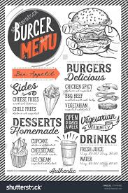 burger food menu restaurant cafe design stock vector 717949480