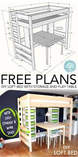 Free Loft Bed Plans Twin by Diy Loft Bed With Desk And Storage Play Table Lofts And Storage
