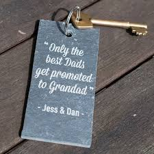 the best dads get promoted to engraved slate key ring the best dads get promoted