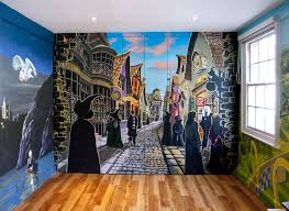 harry potter wall murals home design ideas harry potter hogwarts mural shown here straight on daigon alley painted directly on to a