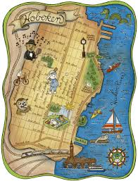 Usps First Class Shipping Time Map Map Of Hoboken New Jersey Archival Art Print 8 X