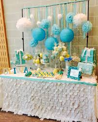 tiffany blue yellow and white baby shower sweets table designed