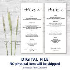 templates bridal shower menu template free plus free printable