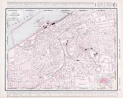 Ohio City Map Detailed Vintage Color Street City Map Of Cleveland Ohio Usa Stock