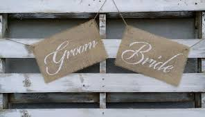 Bride And Groom Chair Signs Rustic Bride And Groom Burlap Chair Signs Burlap Wedding Signs