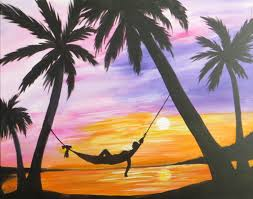palm trees at sun set hammock painting 16 x 20 acrylic on