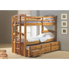 Bunk Bed With Pull Out Bed Angelica Captains Trundle Twin Over Twin Wood Bunk Bed
