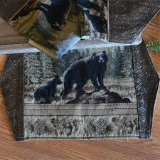 bear rustic table runners u0026 placemats cabin place