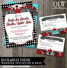 rockabilly wedding invitation polka dot stationery tattoo