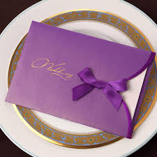 Buy Invitation Cards Online High Quality Graceful Wedding Invitations Bows Purple Golden