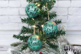 set of 3 mini globe ornaments teal red blue cream