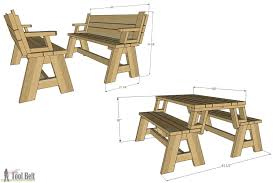Folding Picnic Table Plans Pdf by Convertible Picnic Table And Bench Buildsomething Com