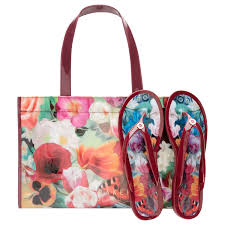 flip flop bag ted baker alcinar floral swirl tote bag and flip flops set lyst