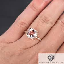 engagement rings cushion cut modified cushion cut morganite diamond pave halo 14k gold