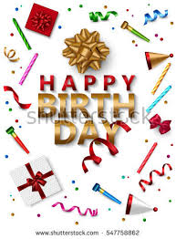 happy birthday banner template realistic gift stock vector